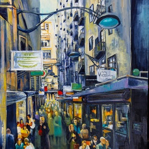 (CreativeWork) Melbourne's Cool Laneway by Rosa d'Argent. oil-painting. Shop online at Bluethumb.