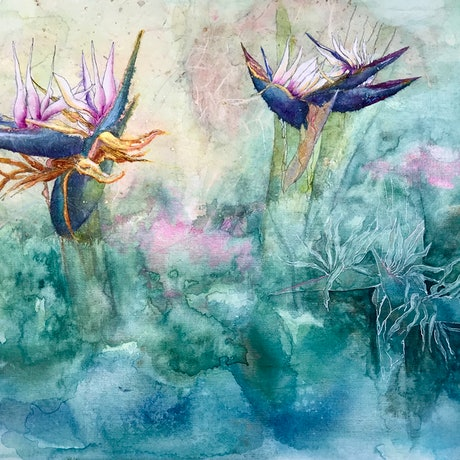 (CreativeWork) Dance of the Bird of Paradise by Donna Maloney. Watercolour Paint. Shop online at Bluethumb.