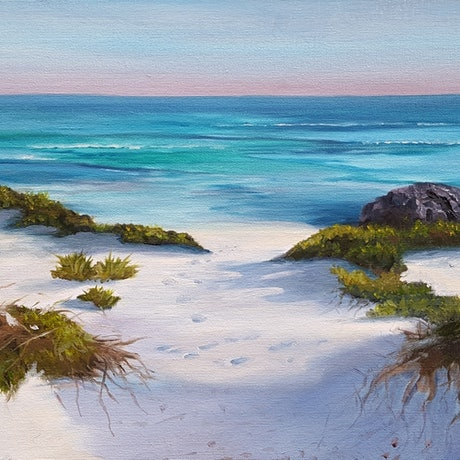 (CreativeWork) Pristine waters by Karin Brear. Oil Paint. Shop online at Bluethumb.