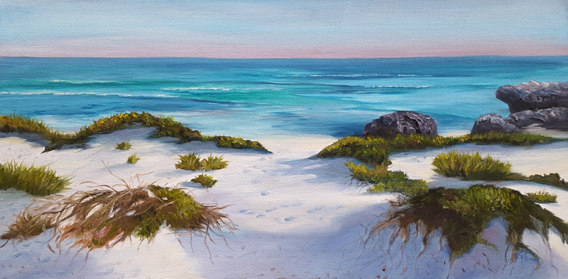 (CreativeWork) Over the dunes  by Karin Brear. oil-painting. Shop online at Bluethumb.