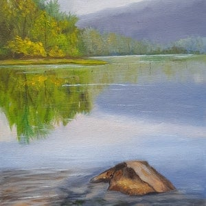 (CreativeWork) Reflections by Karin Brear. oil-painting. Shop online at Bluethumb.