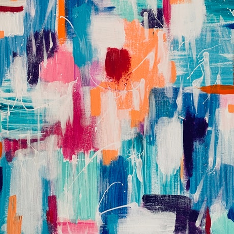 (CreativeWork) Colourful Chaos by Rhianna Fox. Acrylic Paint. Shop online at Bluethumb.
