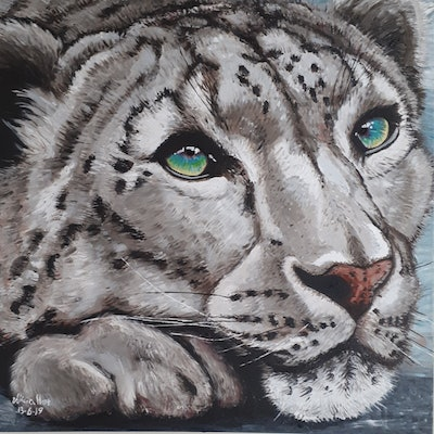 (CreativeWork) Thinking  by Alicia Hart. acrylic-painting. Shop online at Bluethumb.