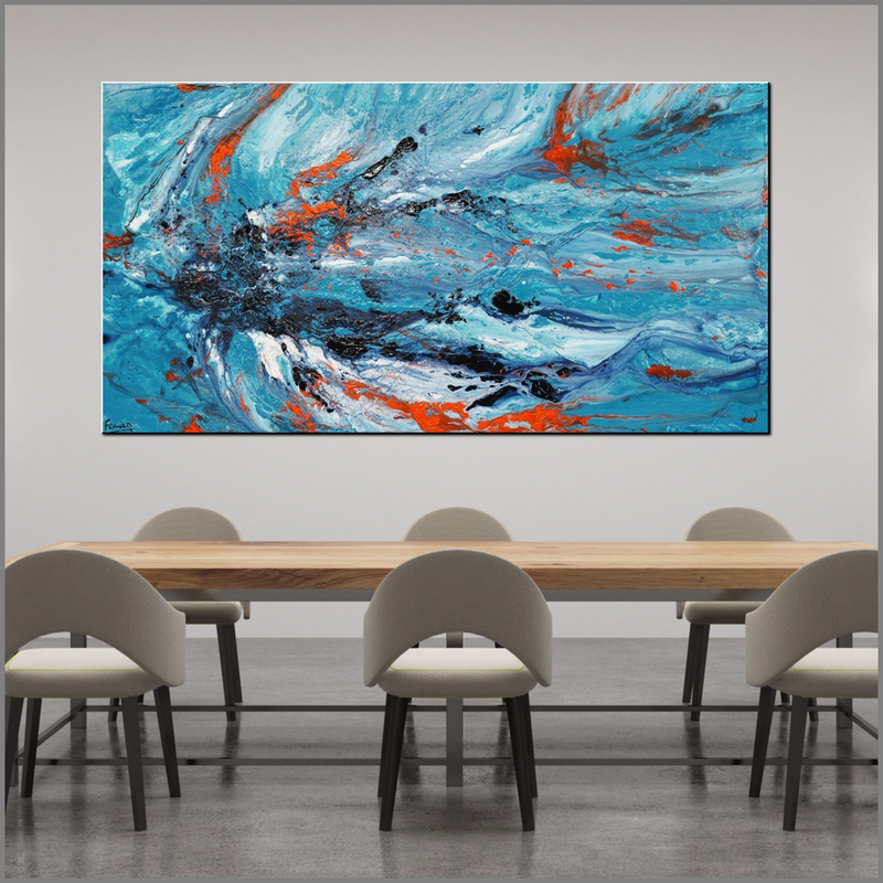 (CreativeWork) Aquatic Silk 190cm x 100cm Blue Teal Orange Textured Acrylic Abstract Gloss Finish FRANKO  by _Franko _. arcylic-painting. Shop online at Bluethumb.
