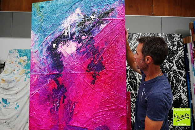 (CreativeWork) Atoms & Neutrons 140cm x 100cm Blue Pink Textured Acrylic Abstract Gloss Finish FRANKO by _Franko _. Acrylic Paint. Shop online at Bluethumb.
