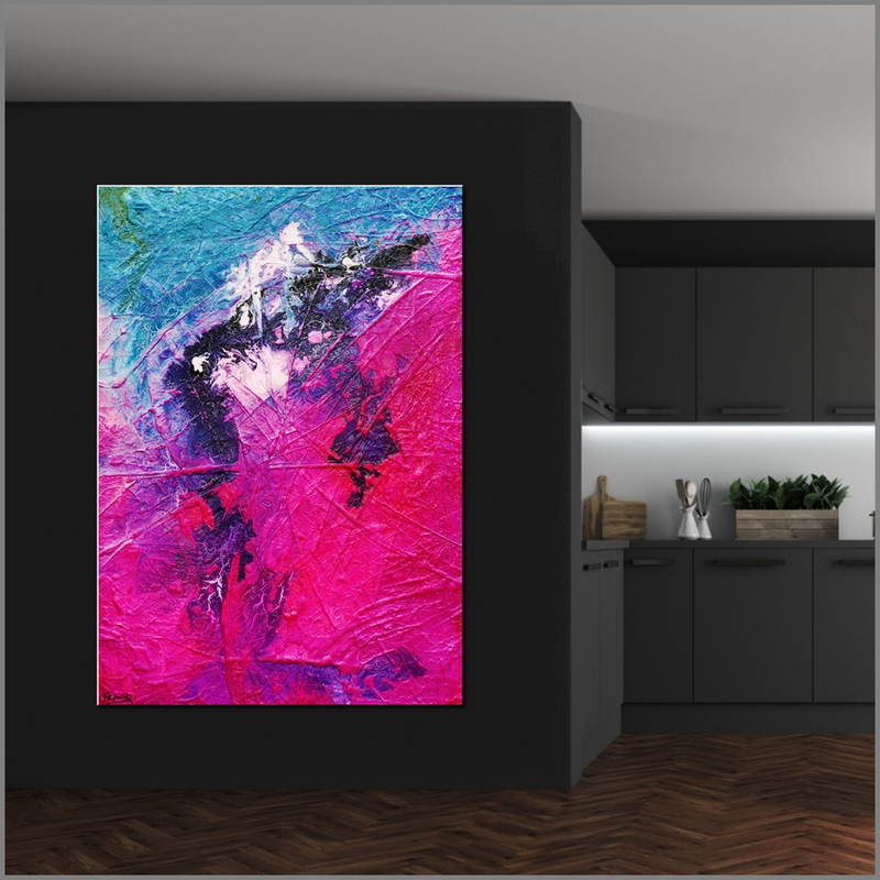 (CreativeWork) Atoms & Neutrons 140cm x 100cm Blue Pink Textured Acrylic Abstract Gloss Finish FRANKO by _Franko _. arcylic-painting. Shop online at Bluethumb.