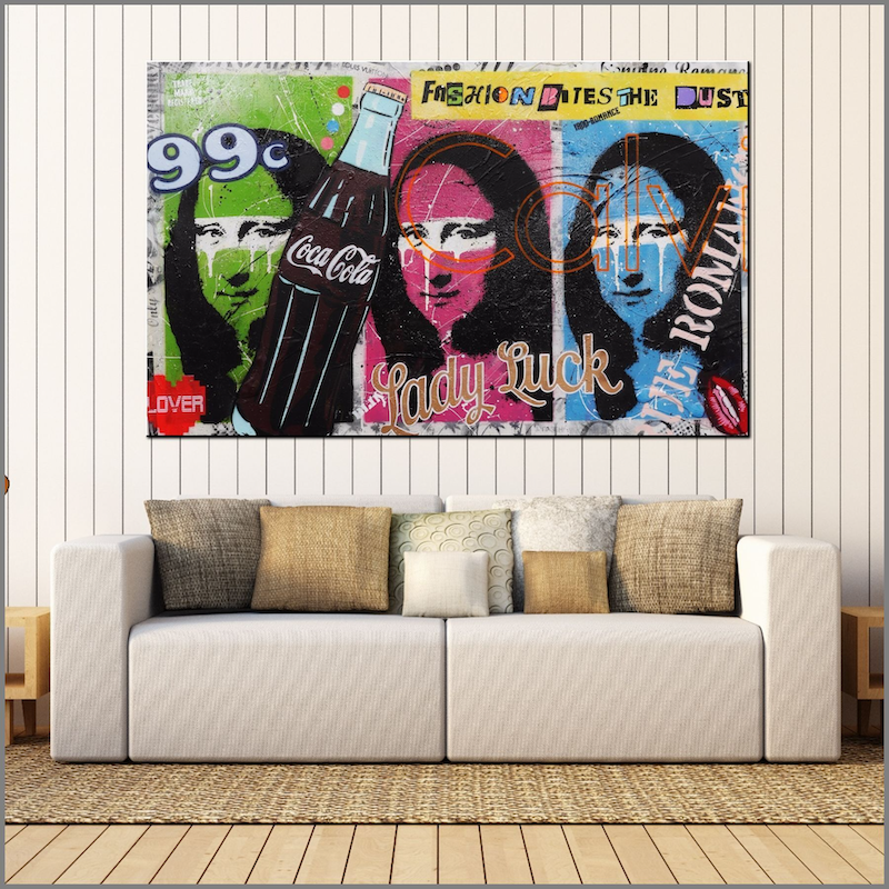 (CreativeWork) Stop Your Moaning 160cm x 100cm Monalisa textured urban Pop art FRANKO by _Franko _. mixed-media. Shop online at Bluethumb.