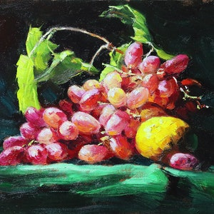 (CreativeWork) Still life grape 112 by Yuan Fu. oil-painting. Shop online at Bluethumb.