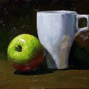(CreativeWork) Still life apple & white cup by Yuan Fu. oil-painting. Shop online at Bluethumb.