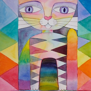 (CreativeWork) Friendly Cat by Karin Zeller. watercolour. Shop online at Bluethumb.