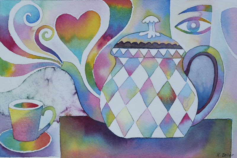 (CreativeWork) Time for a cuppa by Karin Zeller. watercolour. Shop online at Bluethumb.