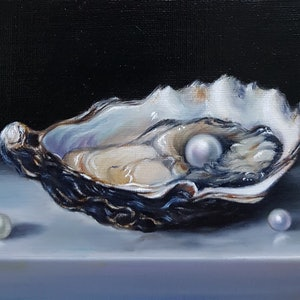 (CreativeWork) Still life of Oyster and Pearls by Natasha Junmanee. oil-painting. Shop online at Bluethumb.