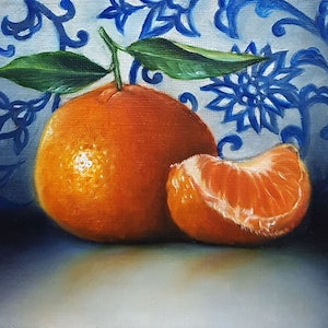 (CreativeWork) Mandarin orange on blue and white wall by Natasha Junmanee. oil-painting. Shop online at Bluethumb.