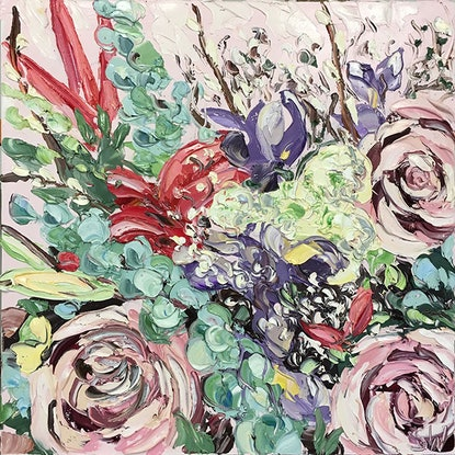 (CreativeWork) Flowers For Rhanie by Sally West. Oil Paint. Shop online at Bluethumb.