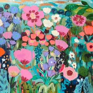 (CreativeWork) Flower Field by Sandra Oost. arcylic-painting. Shop online at Bluethumb.