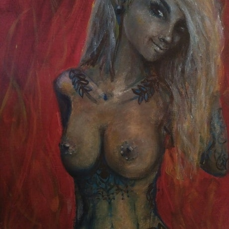 (CreativeWork) Fiery Temptation by K.A. Oakley. Acrylic Paint. Shop online at Bluethumb.