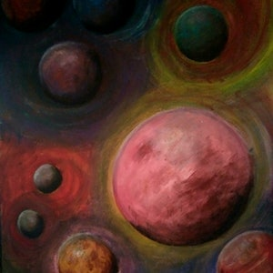 (CreativeWork) Interplanetary Dreamscape by K.A. Oakley. arcylic-painting. Shop online at Bluethumb.
