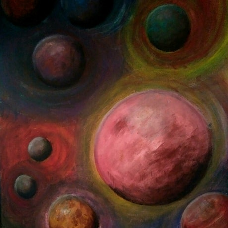 (CreativeWork) Interplanetary Dreamscape by K.A. Oakley. Acrylic Paint. Shop online at Bluethumb.