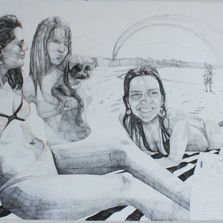 (CreativeWork) Beach Girls by Marko Hrubyj-Piper. Drawings. Shop online at Bluethumb.
