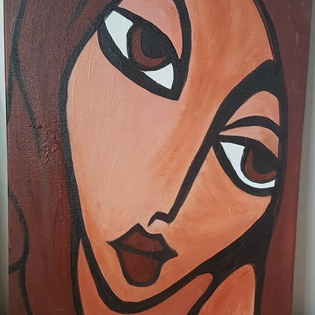 (CreativeWork) brown haired woman by Ben Fleming. Oil Paint. Shop online at Bluethumb.