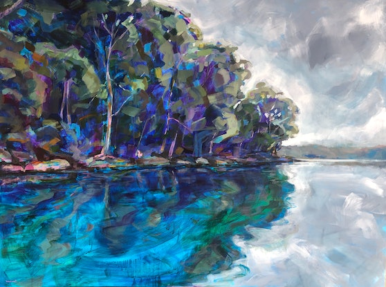 (CreativeWork) Middle Harbour Mooring by Kate Gradwell. Acrylic Paint. Shop online at Bluethumb.