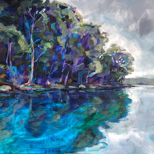 (CreativeWork) Middle Harbour Mooring by Kate Gradwell. arcylic-painting. Shop online at Bluethumb.