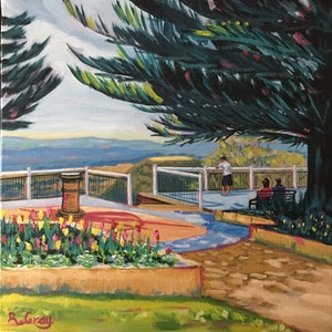 (CreativeWork) Picnic Point Views Toowoomba by Robyn Gray. arcylic-painting. Shop online at Bluethumb.