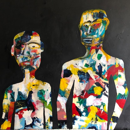 (CreativeWork) Rainbow Men by Peter Bastaja. Acrylic Paint. Shop online at Bluethumb.