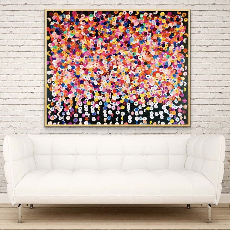 (CreativeWork) Spangles 122x102 framed  by Sophie Lawrence. arcylic-painting. Shop online at Bluethumb.