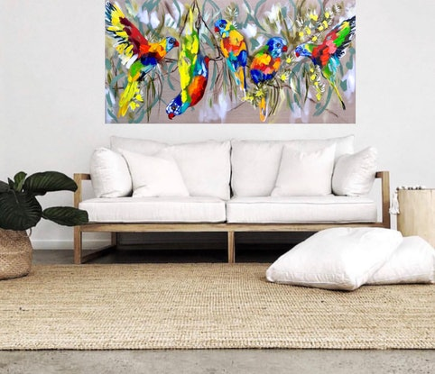 (CreativeWork) lorikeets and cascading gum  by Amanda Brooks. #<Filter:0x00005570832cbed0>. Shop online at Bluethumb.