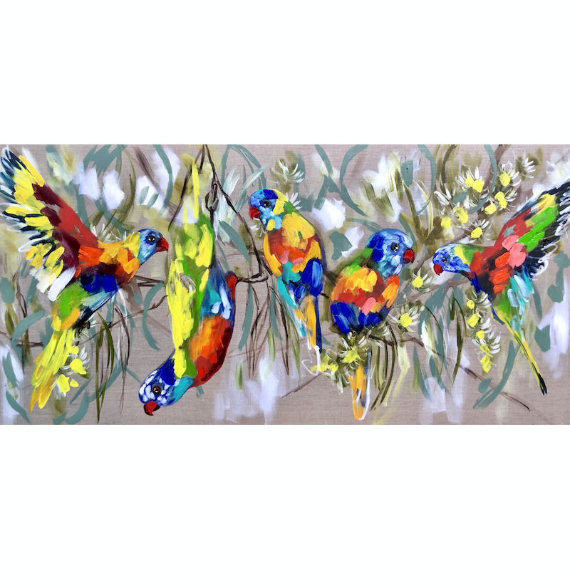 (CreativeWork) lorikeets and cascading gum  by Amanda Brooks. arcylic-painting. Shop online at Bluethumb.