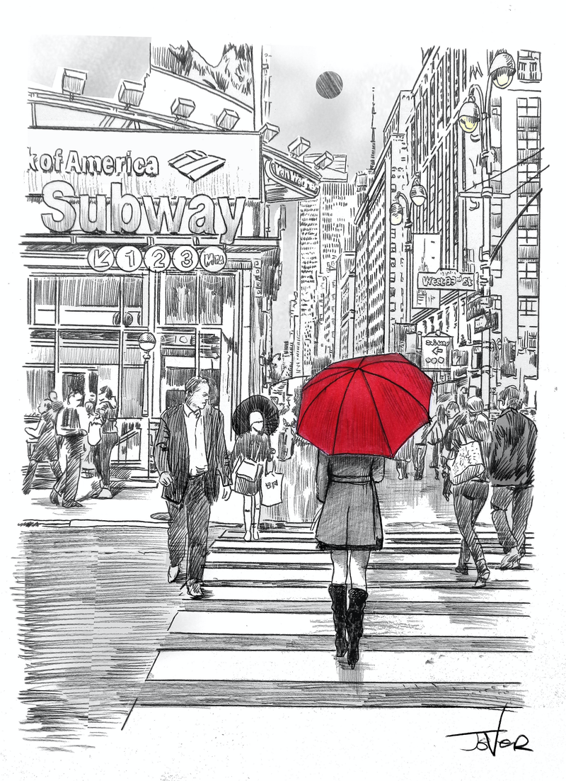 (CreativeWork) SUBWAY WALK by loui jover. drawing. Shop online at Bluethumb.