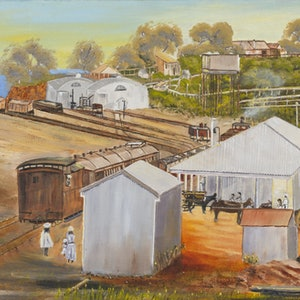(CreativeWork) Australian Landscape Palmerston Railway Station c. 1887 Disappearing Darwin Series - Heritage Landscape Ed. 1 of 50 by Kit McNeill. print. Shop online at Bluethumb.