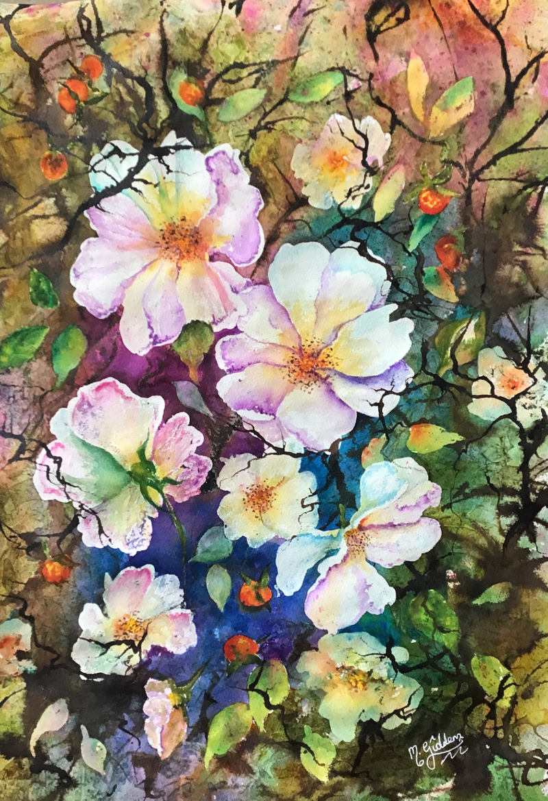(CreativeWork) The Winter's Roses by Michael Giddens. Watercolour Paint. Shop online at Bluethumb.