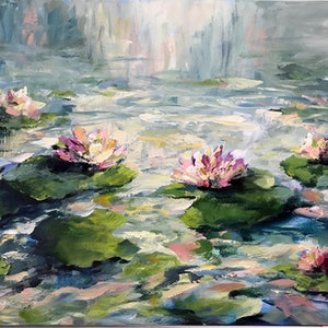 (CreativeWork) LIGHT UPON THE POND by Ivana Pinaffo. arcylic-painting. Shop online at Bluethumb.