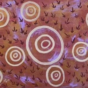 (CreativeWork) Waterholes and Emus by Fiona Clarke. acrylic-painting. Shop online at Bluethumb.
