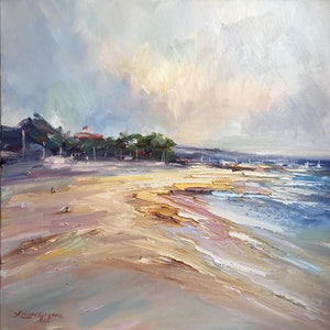 (CreativeWork) Mordialloc beach by Liliana Gigovic. oil-painting. Shop online at Bluethumb.