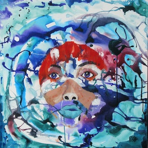 (CreativeWork) Head Space 2 by Lesley Taylor. mixed-media. Shop online at Bluethumb.