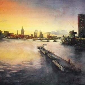 (CreativeWork) river barges by peter smart. watercolour. Shop online at Bluethumb.