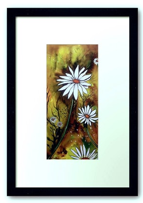 (CreativeWork) Forest Daisies by Linda Callaghan. Watercolour Paint. Shop online at Bluethumb.