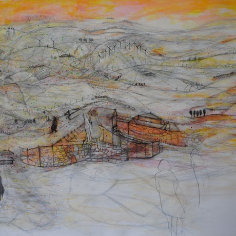 (CreativeWork) A Very Wobbly Course by Chris Rowe. Mixed Media. Shop online at Bluethumb.