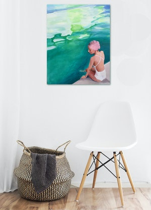 (CreativeWork) POOLSIDE by TeMoana .. Acrylic Paint. Shop online at Bluethumb.