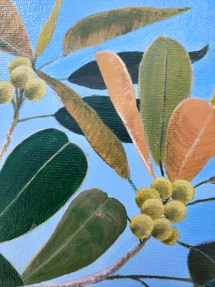 (CreativeWork) Moreton Bay Fig with Rainbow Lorikeets by Lisa Gaudron. Acrylic Paint. Shop online at Bluethumb.