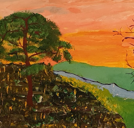 (CreativeWork) River Studio Landscape by Selwyn Myerson. Acrylic Paint. Shop online at Bluethumb.