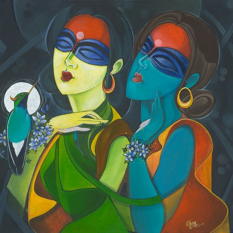 (CreativeWork) Ladies with Kingfisher  by Yagna Lad. Acrylic Paint. Shop online at Bluethumb.
