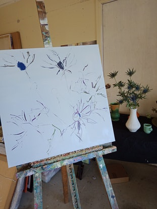 (CreativeWork) SEA HOLLY by Karen McPhee. Acrylic Paint. Shop online at Bluethumb.