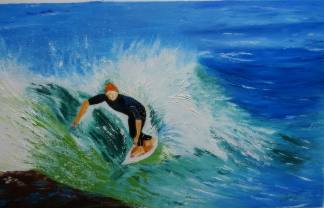 (CreativeWork) Surfer In Abstract by GLENN SPECK. Oil Paint. Shop online at Bluethumb.