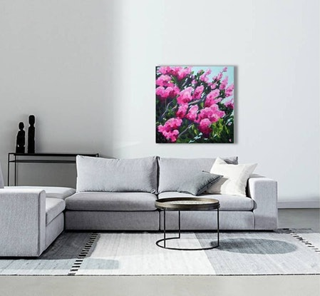 (CreativeWork) Pink Crepe Myrtle by John Klein. Acrylic Paint. Shop online at Bluethumb.