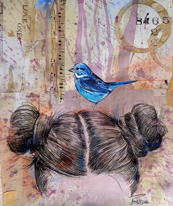 (CreativeWork) LOVE ONE BIRD DAYS by loui jover. Drawings. Shop online at Bluethumb.