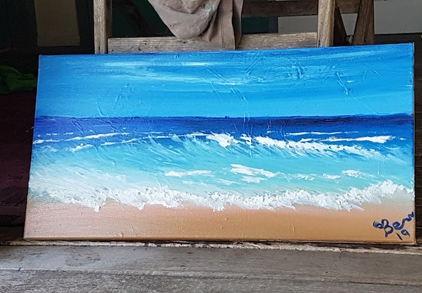 (CreativeWork) small waves on autumn beach by Ben Fleming. Oil Paint. Shop online at Bluethumb.